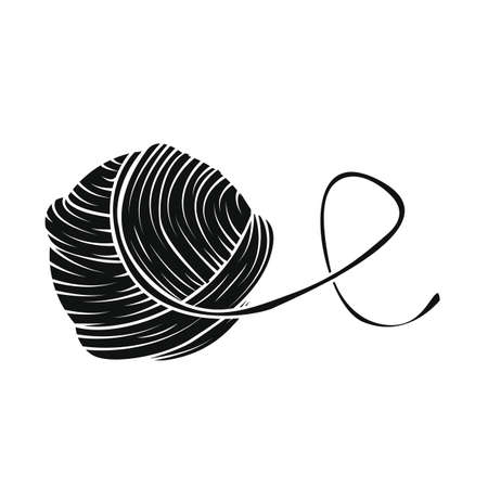 Yarn ball in simple style. For print, logo, creative design. Vector illustration. Isolated on white