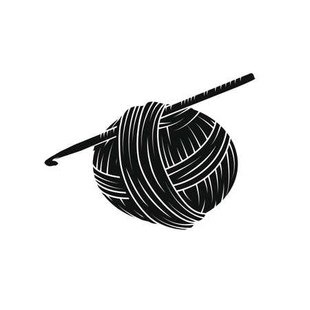 シンプルなスタイルで糸のボール。印刷、ロゴ、創造的なデザイン。ベクトルの図。白で隔離