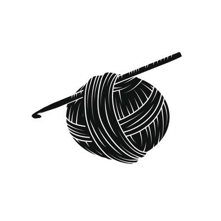 Yarn ball in simple style. For print, logo, creative design. Vector illustration. Isolated on white Stok Fotoğraf - 85983555