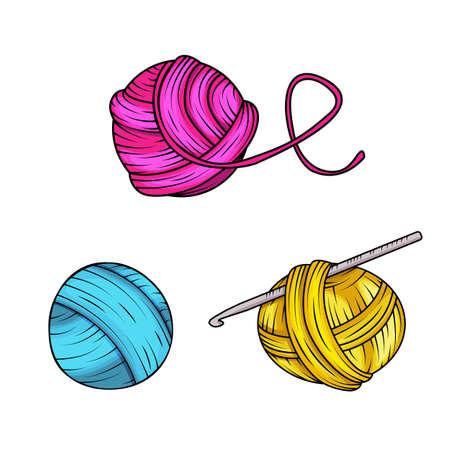 Garnball stellte in Karikaturart ein. Für Druck, Logo, kreatives Design. Vektor-Illustration. Isoliert auf weiss Standard-Bild - 85983557