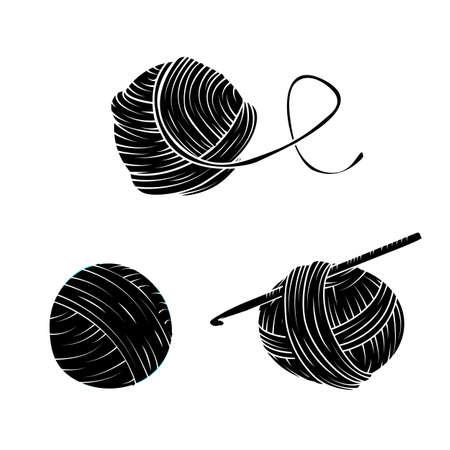 糸玉をシンプルなスタイルに設定します。印刷、ロゴ、創造的なデザイン。ベクトルの図。白で隔離