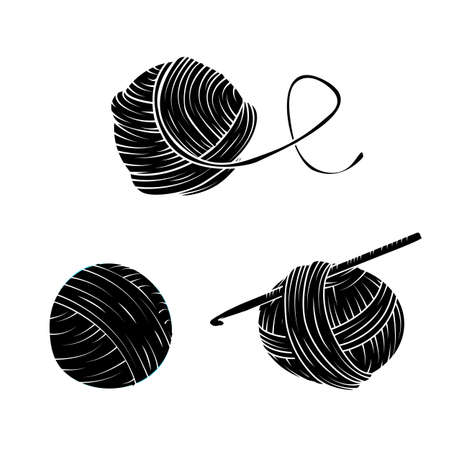 Yarn ball set in simple style. For print, logo, creative design. Vector illustration. Isolated on white
