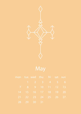 Calendar 2018 in aztec style. For print, decor and creative design