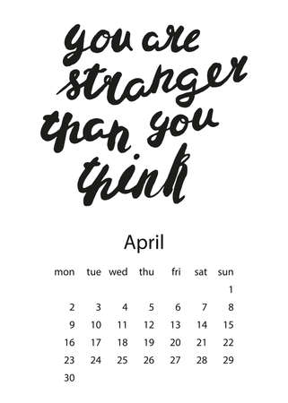 Calendar 2018 with motivational lettering. For print, decor and creative design. Vector illustration. You are stranger than you think