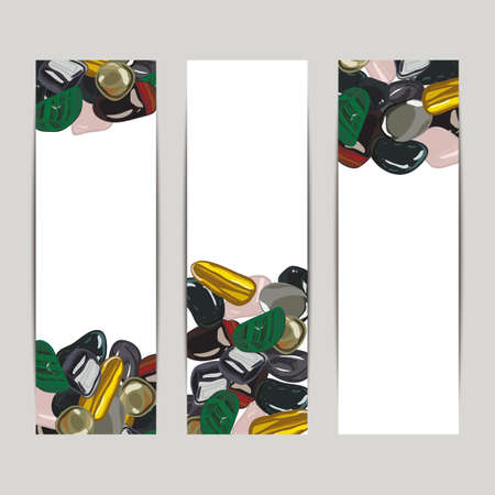 Banner with jewelry stones in cartoon style on white background.
