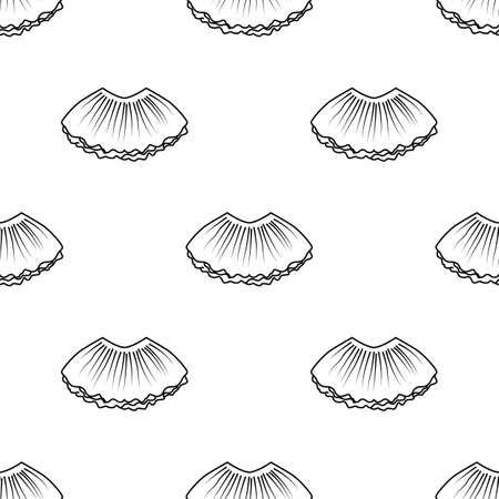 Ballet tutu seamless pattern in outline style Vectores