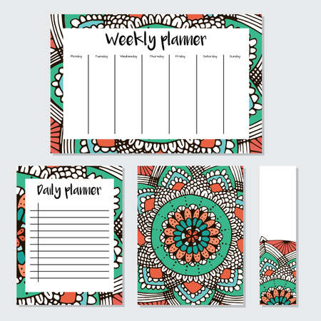Weekly  and daily Planner in Indian  Style with mandala Pattern. Perfect for Print, Template, to do list. Vector isolated illustration