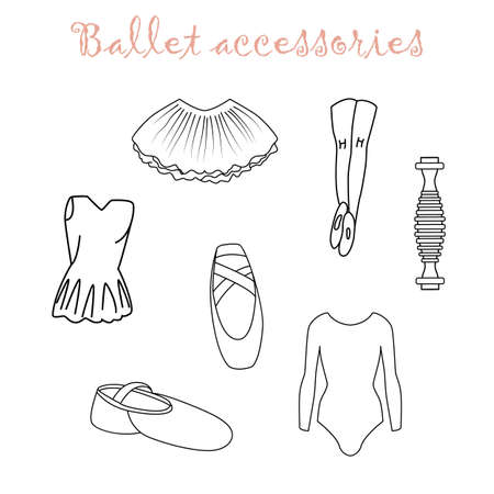 Ballet accessories icons set in outline style for ballet class, and creative design