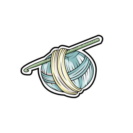 Yarn ball sticker in cartoon style. For print, logo, creative design. Vector illustration. Stock Illustratie