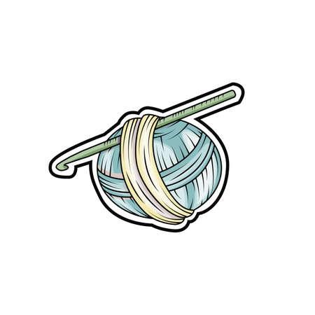 Yarn ball sticker in cartoon style. For print, logo, creative design. Vector illustration. Illustration