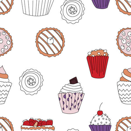 Cupcake pattern in cartoon style with few colors, fit for print, menu and creative design. Reklamní fotografie - 93243984