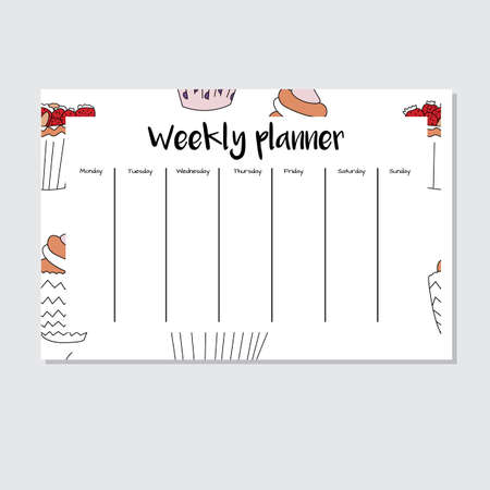 Weekly planner with cupcake seamless pattern in cartoon style. Perfect for print, schedule, and creative design Vector illustration.