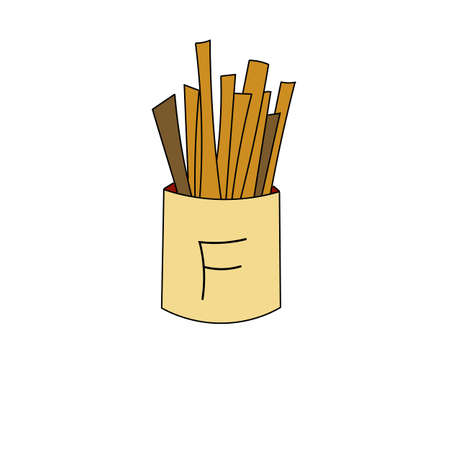 French fries icon in cartoon style. For print, logo, creative design. Vector illustration. Isolated on white