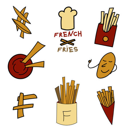 French fries logo set in cartoon style. For print, icon, creative design. Vector illustration. Isolated on white