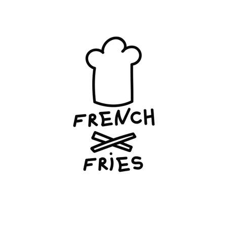 French fries icon in simple style. For print, icon , creative design. Vector illustration. Isolated on white
