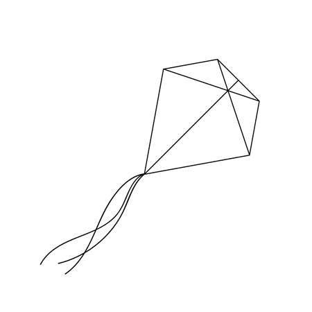 Kite in outline style. For print, web and creative design. Isolated on white. Vector illustration