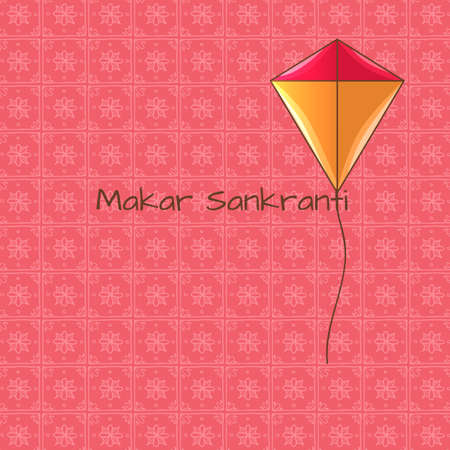 Makar Sankranti holiday card with kite in cartoon style. For print, web and creative design