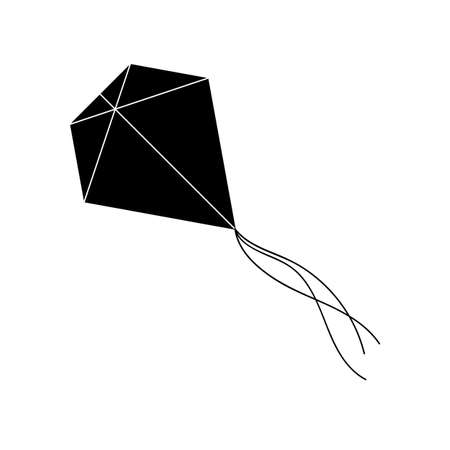 Kite in simple style. For print, web and creative design. Isolated on white. Vector illustration
