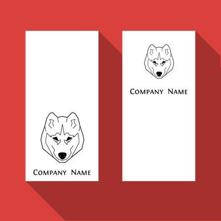 Husky dog business card in geometric modern style. Illustration