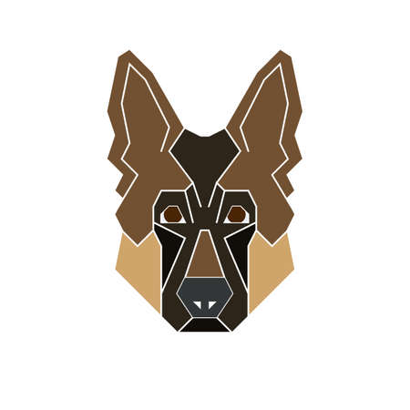 German Shepherd dog icon set in geometric modern style. Perfect logo, print and creative design. Vector illustration. Isolated on white.
