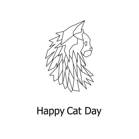 Happy cat day card in geometric style. Maine coon in vector.