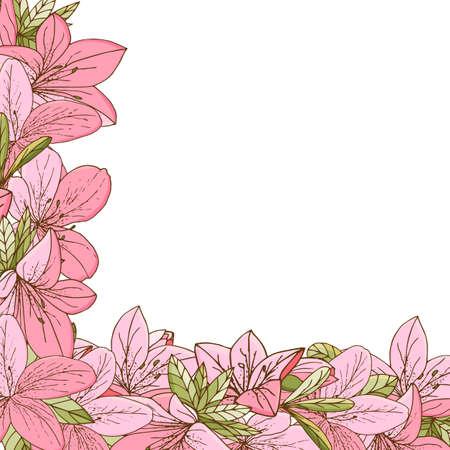 Azalea frame in hand drawn style. For print, card, wedding invitations. Vector illustration. Illustration