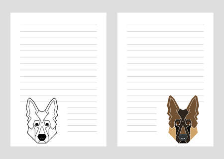 Paper notebook template with german shepherd dog icon in geometric modern style.