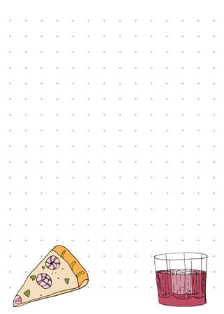 Paper note book template with pizza and juice in hand drawn style. Vector illustration