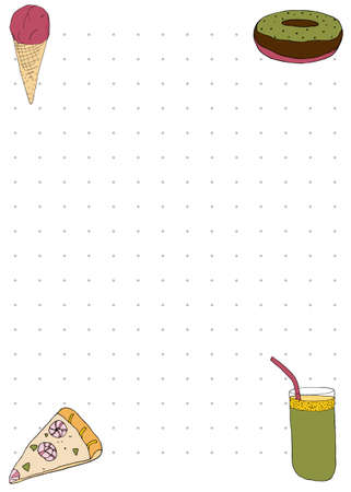 Paper note book template with pizza, smoothie, ice-cream and donuts in hand drawn style. Vector illustration Illustration