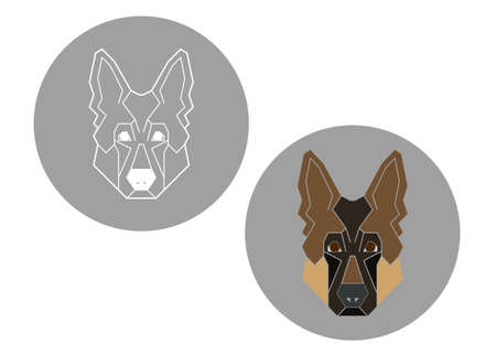 Paper stickers template with german shepherd dog icon in geometric modern style.