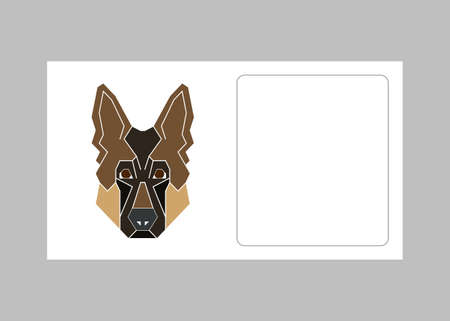 Business card template with German shepherd dog icon in geometric modern style. Perfect icon, print and creative design. Vector illustration. Illustration