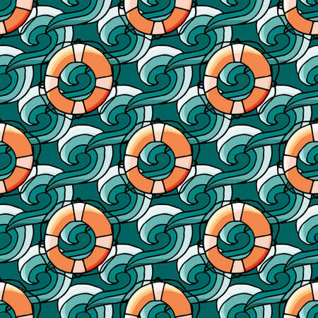Seamless pattern with water wave and lifebuoy in cartoon style. For web, print and textile design. Vector illustration