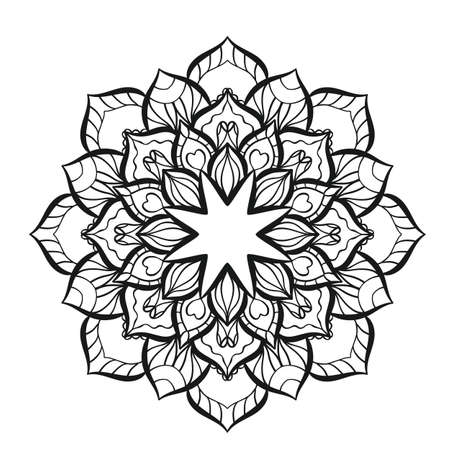 Flower mandala in indian style for coloring book and adults. Vector illustration. Isolated on white
