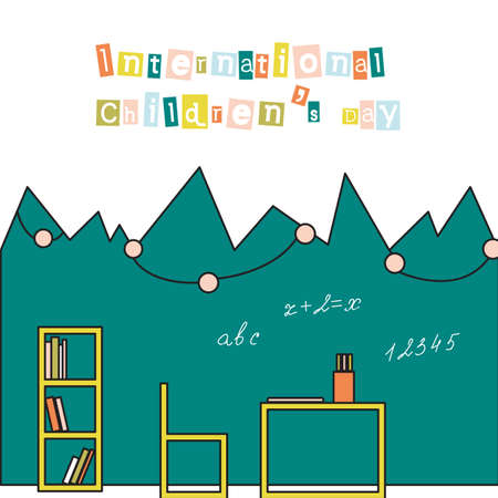 International Childrens Day card in flat style. Vector illustration