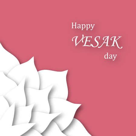 Banner for Vesak Day with Mandala Flower in Paper Art Style. Vector illustration