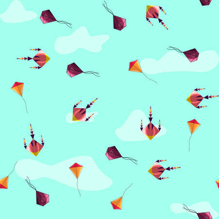 Kite seamless pattern in cartoon style