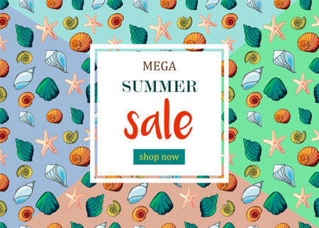 Banner with shells in cartoon style. For ads, website and creative design. Vector illustration