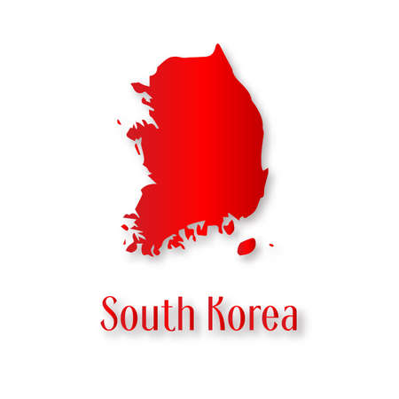 South Korea map in paper art style. For paper, poster, education. Vector illustration