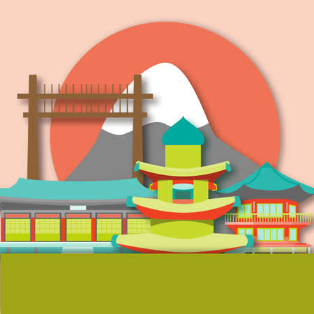 Card with South Korea attractions in paper art style. For travel, stickers and greeting cards. Illustration