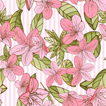 Seamless pattern with azalea in hand drawn style. For paper, textile, interior design. Vector illustration