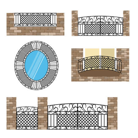 Forged metal elements with ornament. For steel fence, gates and decorative balcony. Vector illustration 일러스트