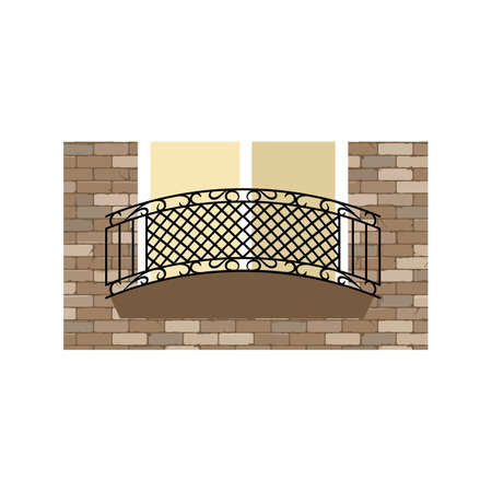 Forged metal element with ornament. For steel fence, gates and decorative balcony. Vector illustration
