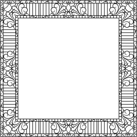 Forged metal frame with ornament. For mirror and pictures. Vector illustration Illustration