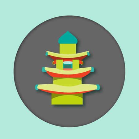 South Korea pagoda - attraction in flat style. For travel, stickers and greeting cards.