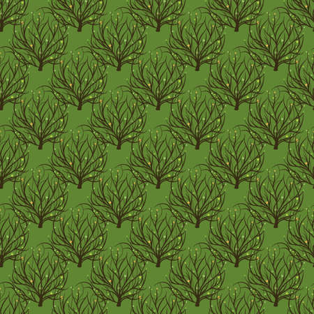 Seamless pattern with tree of life in hand drawn style. For bed linen, paper and creative design. Vector illustration. Isolated on white 写真素材 - 103257468