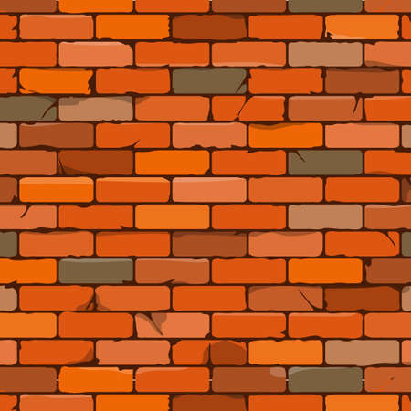Seamless brown brick wall background in cartoon style. Vector illustration