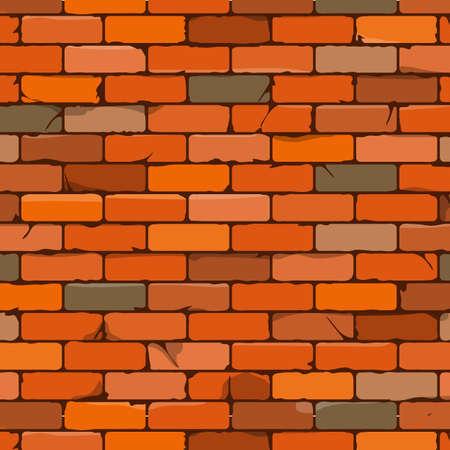 Naadloze bruine bakstenen muur achtergrond in cartoon stijl. Vector illustratie