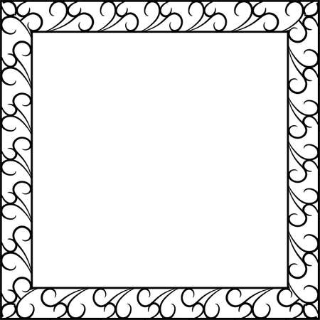 Forged metal frame with ornament. For mirror and pictures. Vector illustration 스톡 콘텐츠