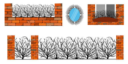 Forged metal elements with ornament. For steel fence, gates and decorative balcony. Vector illustration