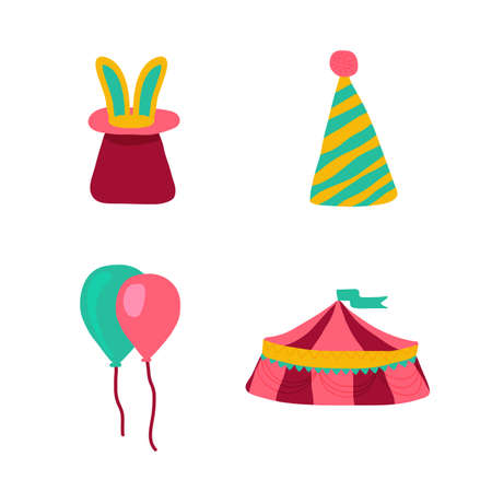 Circus icons in doodle style. Hat with rabbit, airballons, tent. Perfect for nursery poster. Vector illustration